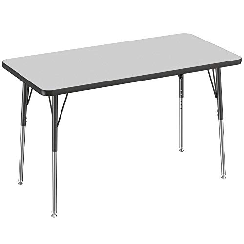 FDP Rectangle Activity School and Office Table (24 x 48 inch), Standard Legs with Swivel Glides, Adjustable Height 19-30 inches - Gray Top and Black Edge