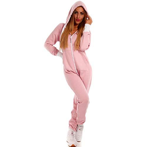 Crazy Age Basic Jumpsuits Ganzkörperanzug Einteiler One Piece Schlafanzug Overall Damen Jumpsuit Kuschelig und warm (M, Rosa)