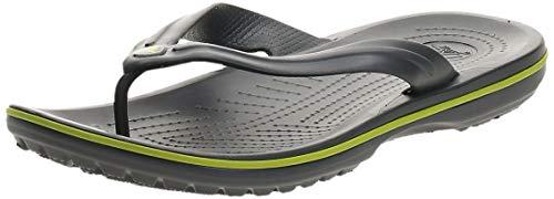 Crocs Crocband Flip, Chanclas Unisex Adulto, Gris (Graphite/Volt Green), 41/42 EU