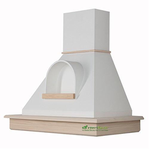 Cappa cucina rustica legno mod.Stock 90 parete - frassino grezzo e cono bianco con nicchia