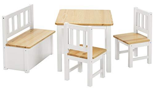 BOMI Kindersitzgruppe Anna mit integrierter Spielzeugkiste   Kindertruhenbank aus Kiefer Massiv Holz   Holzsitzgruppe für Kinder, Mädchen und Jungen Natur