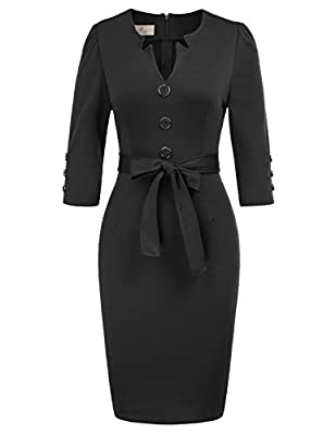 Features: Women's Casual Career Sheath Dress Decoration buttons detail in the front and sleeve cuffs,back hem slit,back zipped fastening,slimming bodice with belt Classic Style Will Never Be Out Of Fashion: Women's Official V Neck Pencil Dress is sup...