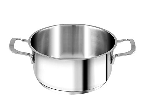 H&H Casseruola Inox Elodie Fondo A Induzione 2 Manici 16 Lt1,8 Pentole Cucina, Acciaio Inossidabile, Argento, 16 cm