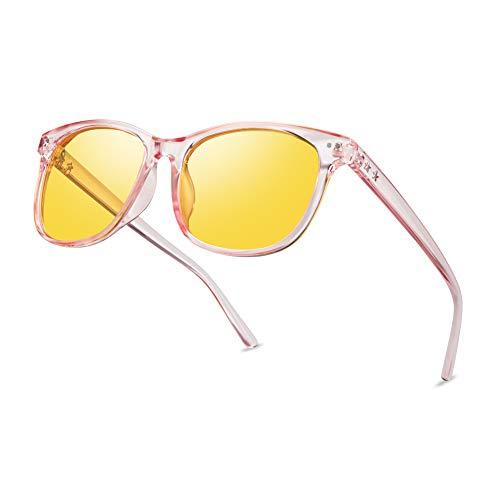 Night Vision Driving Glasses Polarized Anti-glare Clear Sun Glasses Men & Women Fashion (Pink, 56)