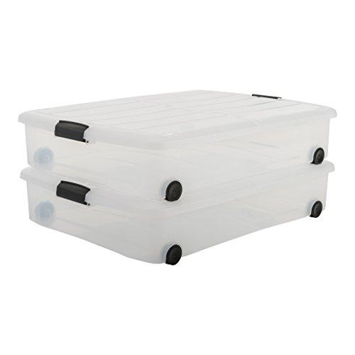 IRIS, 2er-Set Unterbettboxen / Rollerboxen / Aufbewahrungsboxen \'Carry Stocker Under Bed Box\', CS-U800, mit 4 Rollen, zweiseitig bedienbarer Deckel, Plastik, transparent, 50 L, 75 x 56 x 15,7 cm