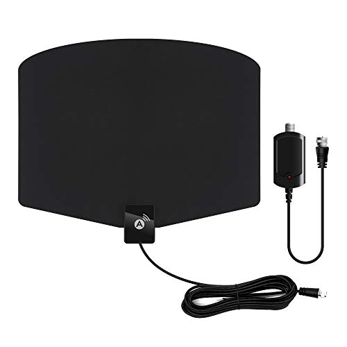 Indoor Digital TV Antenna 120+ Miles Long Range with Support 4K 1080p & All Older TV's Indoor Powerful HDTV Amplifier Signal Booster - Coax Cable