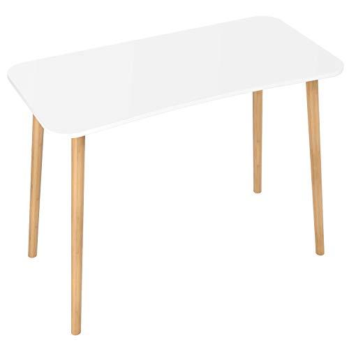 Homfa Scrivanie Ufficio Tavolo PC Tavolino da Studio Postazioni di Lavoro Tavolo da Pranzo in MDF e bamb Bianco 75 x 50 x 100 cm
