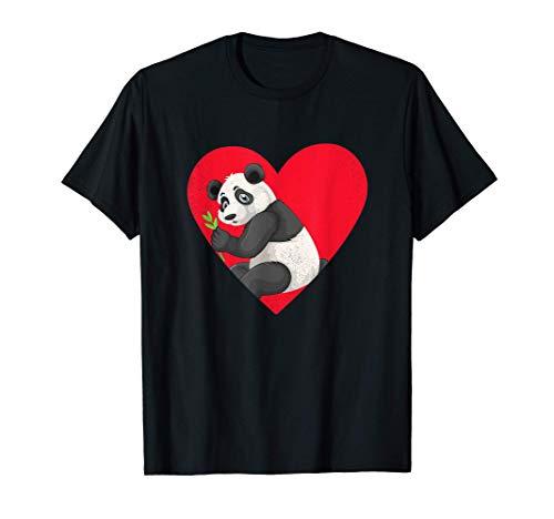 Kawaii giapponese Amo i panda anime cartone animato Maglietta