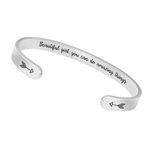 BTYSUN Bracelets for Women Inspirational Gifts for Women Girls Men Motivational Birthday Cuff Bangle Friendship Personalized Mantra Jewelry Come Gift Box