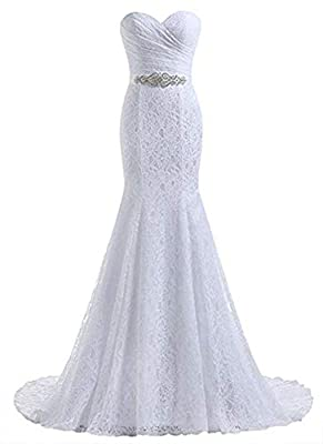 1.Made in Lace and Satin,Mermaid Style,Sewn with Beaded and Detachable Sash. 2.Sweetheart Neck and Lace up Back 3.Size :US2-US26W,Custom Size Available, Please contact with me if you need custom made your wedding dress 4.Color:White and Ivory color i...