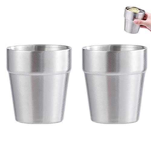 Tazza in Acciaio Inox-Tazze in Metallo Impilabili Bicchieri da Caffè Tazza da Tè Bicchiere da Birra per Viaggi Campeggio Tazzine in Acciaio Inossidabile Riutilizzabile per Casa 2 Pezzi (300ML)
