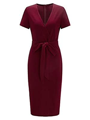 Fabric has some stretch Deep v neck, short sleeve, self belted, zipper back, midi length Elegant and sexy style, suitable for Work, Formal, Cocktail and Night Dating wear Model Measurements: Height: 69.3 inch, Bust: 33.5 inch, Waist: 24 inch, Hips: 3...