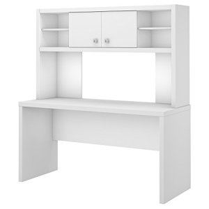 Office by kathy ireland Echo 60W Credenza Desk with Hutch in Pure White