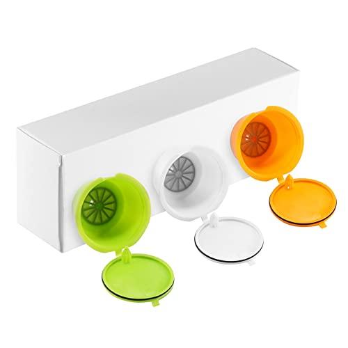 Viitech Cialde riutilizzabili ricaricabili in capsule di caffè, 3 pezzi Tazze colorate
