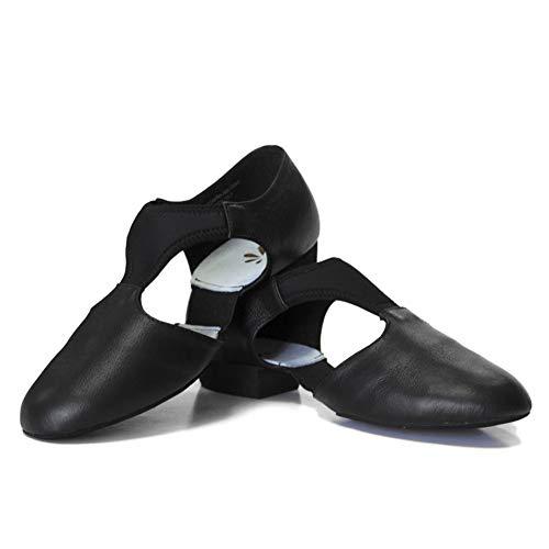 DANCEYOU Zapatos de Jazz para Mujer con Suela Blanda Zapatos de Baile Latino para Hombre Sandalias de Enseñanza de Baile de Cuero para Baile de Salón Salsa Latina Moderna, Negro EU 36.5/37