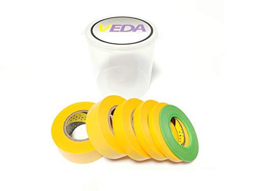 VEDA® Set von 6 Abdeckband 2mm / 6mm / 10mm / 15mm / 18mm / 24mm Handwerkzeuge Zubehör Modellbau Hobbie