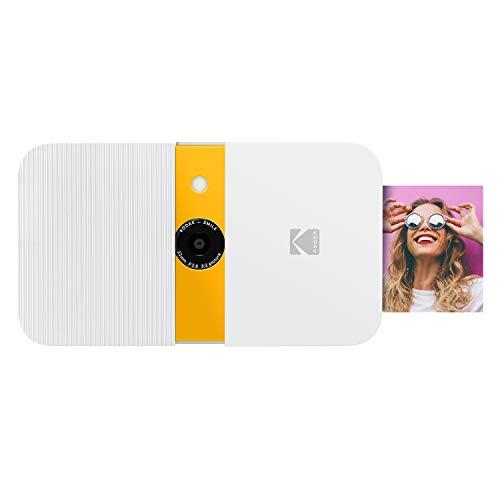 KODAK Smile Cámara Digital impresión instantánea, Cámara de 10 MP deslizable con Impresora Zink 2x3, Pantalla, Enfoque Fijo, Flash automático y edición de Fotos, Blanco/ Amarillo
