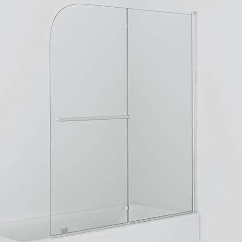 vidaXL Duschkabine 2-tlg. Duschwand Faltwand Duschabtrennung Badewannenaufsatz Badewanne ESG 6 mm Sicherheitsglas 120x140 cm Verstellbereich von 120-121 cm Faltbar