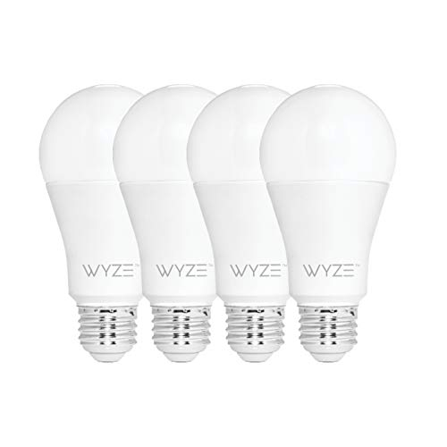 Wyze Bulb 800 Lumen A19 LED Smart Home Light Bulb, Adjustable white temperature and brightness, works with Alexa and the Google Assistant, No Hub Required, 4-Pack