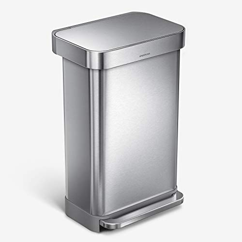 simplehuman 45 Liter Rectangular Hands-Free Kitchen Step Trash Can with Soft-Close Lid, Brushed Stainless Steel