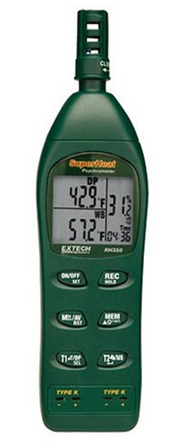 Extech RH350 Psychrometer with 2 Type K Remote Temperature Probes
