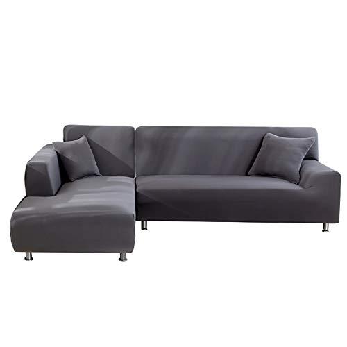 NIBESSER Sofabezug Sofaüberwürfe für L-Form Sofa elastische Stretch Sofabezug (2 Sitzer+2 Sitzer, Grau)