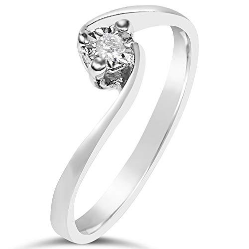 MILLE AMORI ∞ Anillo Mujer Compromiso Oro y Diamantes - Oro Blanco 9 Kt 375 ∞ Diamantes 0.02 Kt