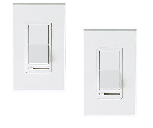 Cloudy Bay in Wall Dimmer Switch for LED Light/CFL/Incandescent,3-Way Single Pole Dimmable Slide,600 Watt max,Cover Plate Included -2 Pack