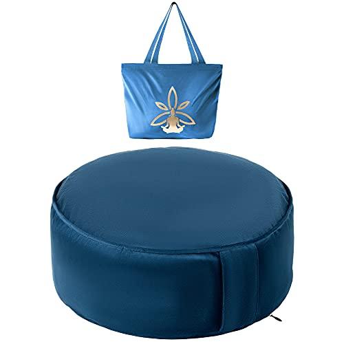 Cojin Yoga Zafu Meditación - Cojín de Suelo Azul para la Práctica...