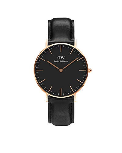 Daniel Wellington Classic Sheffield, Schwarz/Roségold Uhr, 36mm, Leder, für Damen und Herren