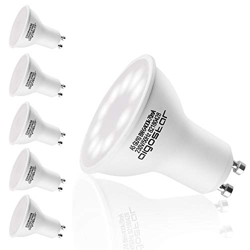 Aigostar - Lampadina LED GU10 8W, Luce Bianca Fredda 6400K 600 lumen, Angolo a Fascio 120-160 Gradi, Nessun Sfarfallio Non Dimmerabile, Confezione da 5