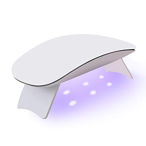 6W Mini UV LED Nail Lamp, Nail Dryer Curing Lamp 60S Timer USB Portable for Nails Based Polishes Gel Polygel (White)