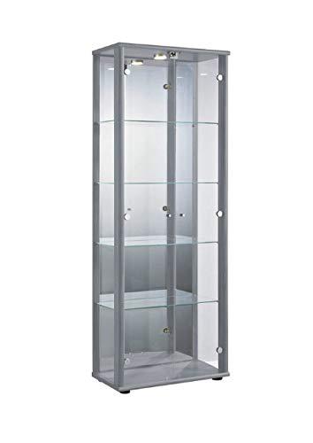 Markenlos Glasvitrine in Silber (176x67x33 cm) mit 4 höhenverstellbaren Glasböden aus ESG, LED, Schloss und Spiegel; beleuchet; perfekt für Sammler;