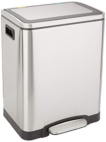 AmazonBasics Rectangle Soft-Close Trash Can with Double Inner Buckets - 2 x 15L
