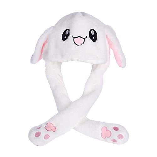 Agumx_Outdoor - Cappello a forma di orecchie di coniglio, simpatico animale di peluche, le orecchie possono muoversi su e giù tramite cuscini d'aria, ottimo come regalo o gioco