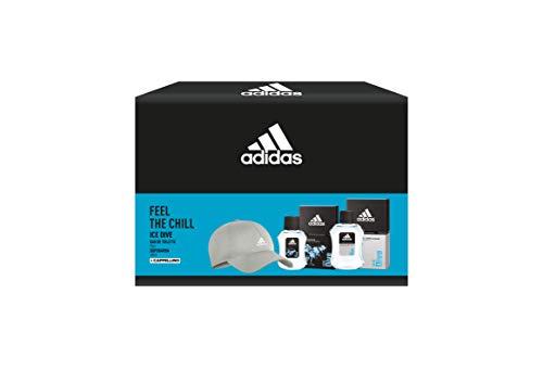 Adidas, Confezione Regalo Ice Dive: Profumo Uomo 50 ml, Dopobarba 100 ml e Cappello Baseball Grigio