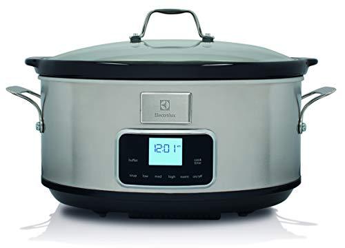 Electrolux ESC7400 Slow Cooker, Pentola Elettrica in Ceramica, Timer, 235 W, 6.8 Litri, argento