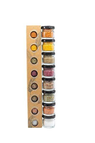 GLOSA MARINA Gourmet Salze, Salz aus Mallorca als ideales Gewürze Geschenkset/Salzset besondere Geschenke aus Meersalz, 8 x 25 g, 200 g