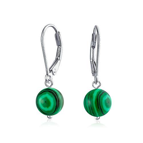 Simple Round Bead Dark Green Malachite Gemstone Leverback...