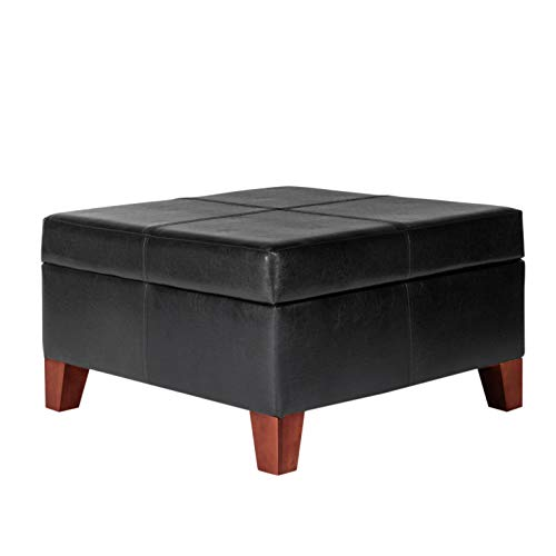 HomePop Faux Leather Square Storage Ottoman Coffee Table with Wood Legs, Black
