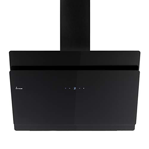 KKT KOLBE Cappa aspirante da cucina / 90 cm/acciaio inox/vetro nero / 9 livelli/classe di efficienza A+ / illuminazione a LED/tasti sensore TouchSelect / SOLO909S