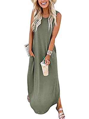 "Three versions:sleeveless/short sleeves/long sleeves dresses,suit for all seasons.Material: Cotton blend.Stretchy,soft and comfy. Length:We add the dress length to make ""maxi dress"" more accurate.Design:Sleeveless,crew neck,Long dress,side slit,pocke..."