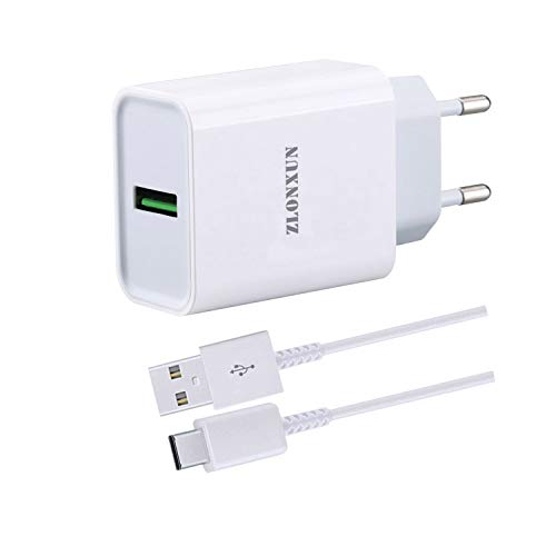ZLONXUN Caricabatterie Caricatore Rapido con Cavo USB-C per Xiaomi Mi 9T/10/8 Lite/9/10 Lite/8/9/9T/8 PRO/9 Lite,Xiaomi Redmi 8/Note 8 PRO/Note 9/8A/9/Note 8T/Note 9S/Note 7