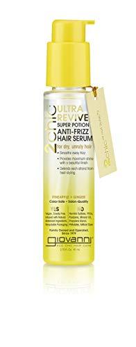 Giovanni Ultra Revive Super Potion Anti-Frizz Serum, Pineapple & Ginger, Vitamin B5, Honeysuckle, Omega Fatty Acids, Sulfate Free, Color Safe, 2.75 oz. (1 Pack)