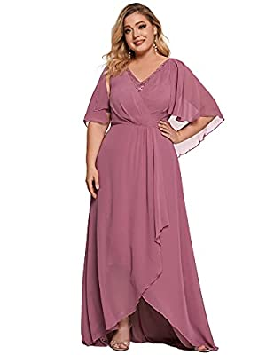 Fully lined, not padded, low stretch Features: cape sleeves, v neck, ruched, ruffle, plus size, evening party dress, elegant and comfortable dress for casual or formal parties Plus size mother of the bride dress with unique short sleeves and illusion...