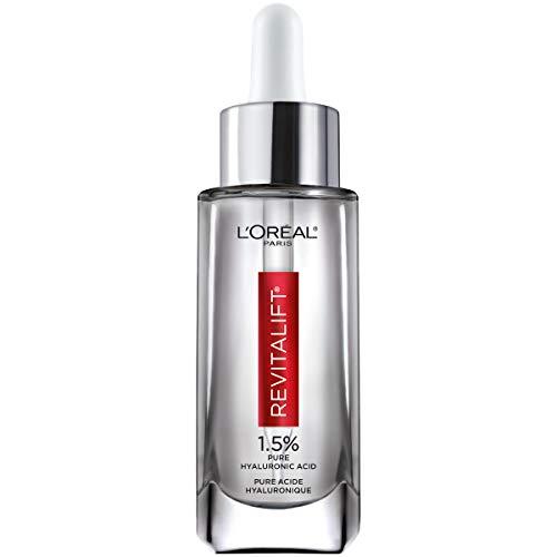 Hyaluronic Acid Serum for Skin, L'Oreal Paris Skincare Revitalift Derm Intensives 1.5% Pure Hyaluronic Acid Face Serum, Hydrates, Moisturizes, Plumps Skin, Reduces Wrinkles, Anti Aging Serum, 1 Oz