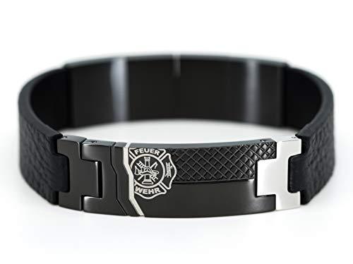 EINSATZGEIL Feuerwehr Armband Proudness I Lederarmband mit Magnetverschluss passend zu Halskette...