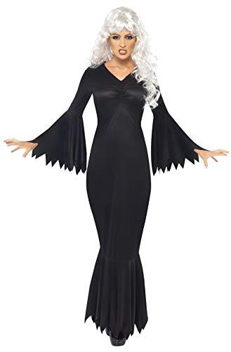 Smiffy's Smiffys-21777M Halloween Disfraz de vampiresa de Medianoche, con túnica, Color Negro, M-EU Tamaño 40-42 21777M