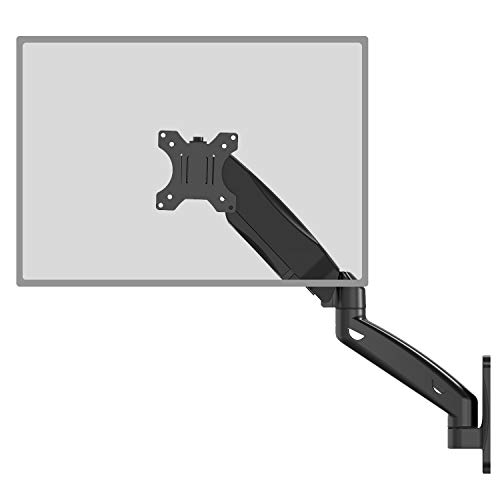 """WALI Single LCD Monitor Fully Adjustable Gas Spring Wall Mount Fits 1 Screen VESA up to 27 inch, 14.3 lbs. Weight Capacity, Arm Max Extension 17"""" (GSWM001), Black"""