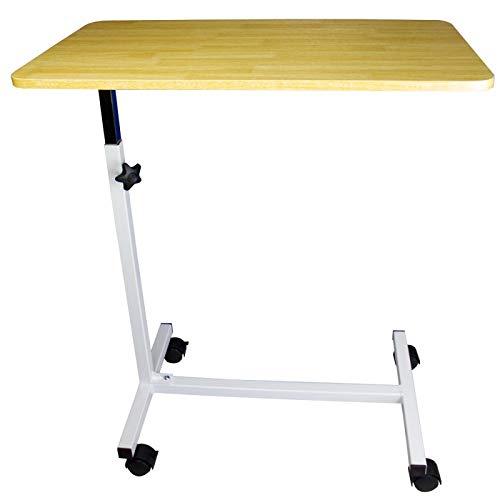 Mobiclinic, Tavolino da letto su ruote, Meseta, Marchio Europeo, Superficie antigraffio, Bordo di contenimento, Regolabile in altezza, Accaio e Legno